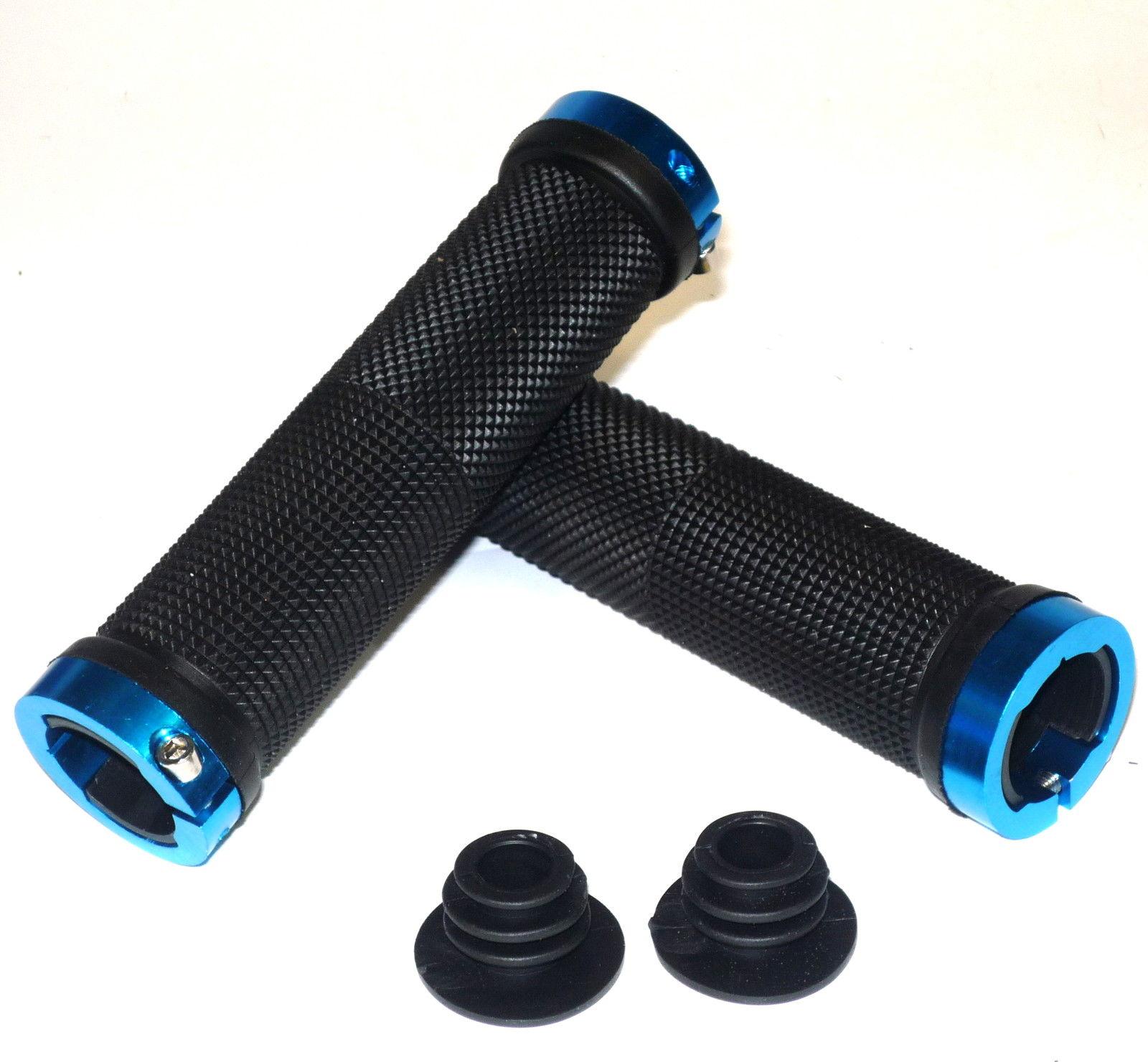 TT Double Lock On Handlebar Black Grips MTB BMX Bike Black / Blue