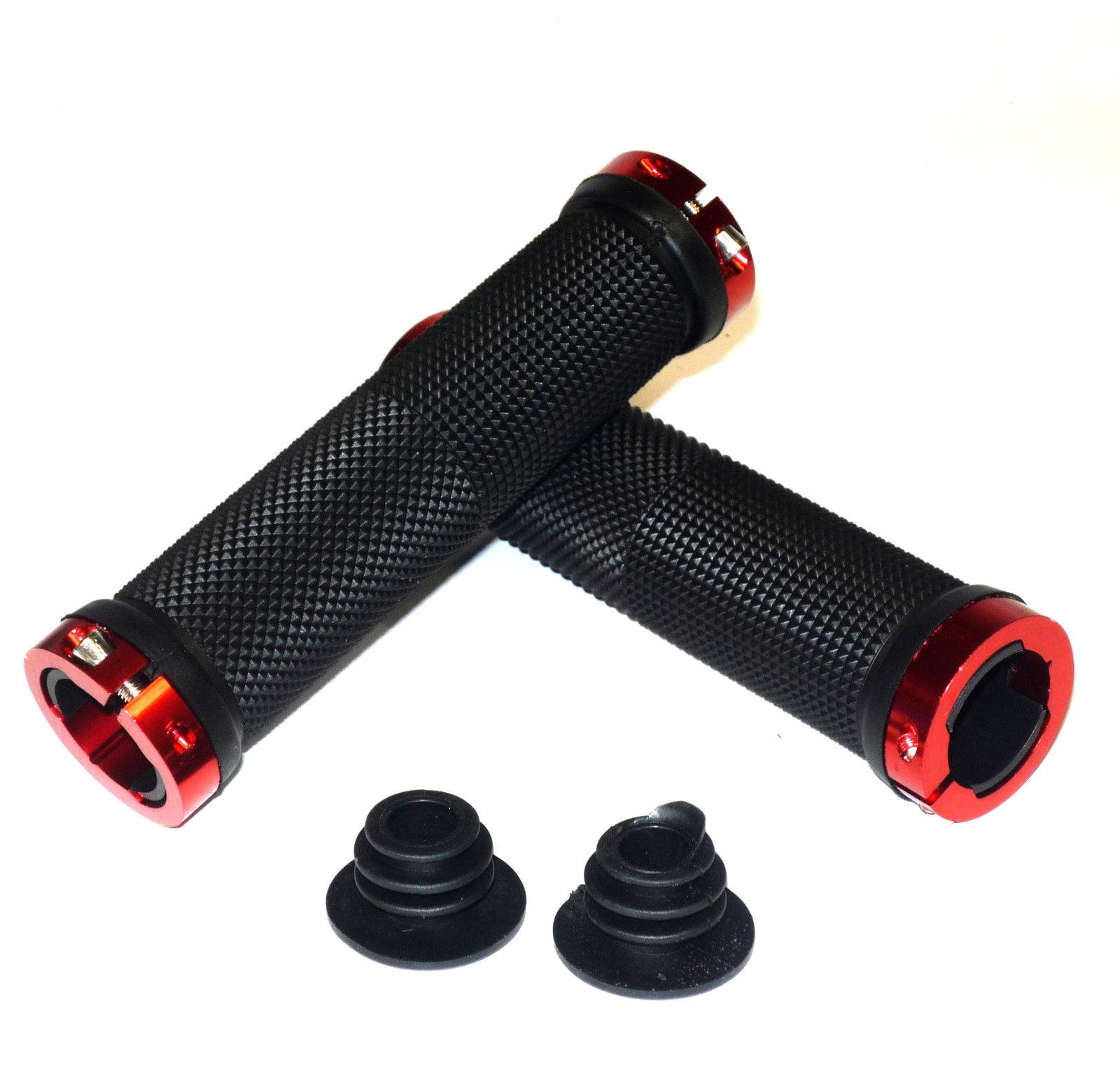 TT Double Lock On Handlebar Black Grips MTB BMX Bike Red