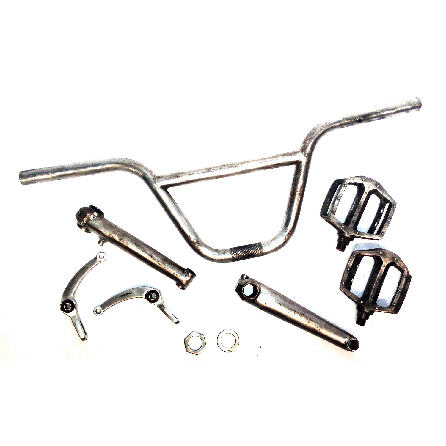 Wire Brushed Raw Steel BMX Parts