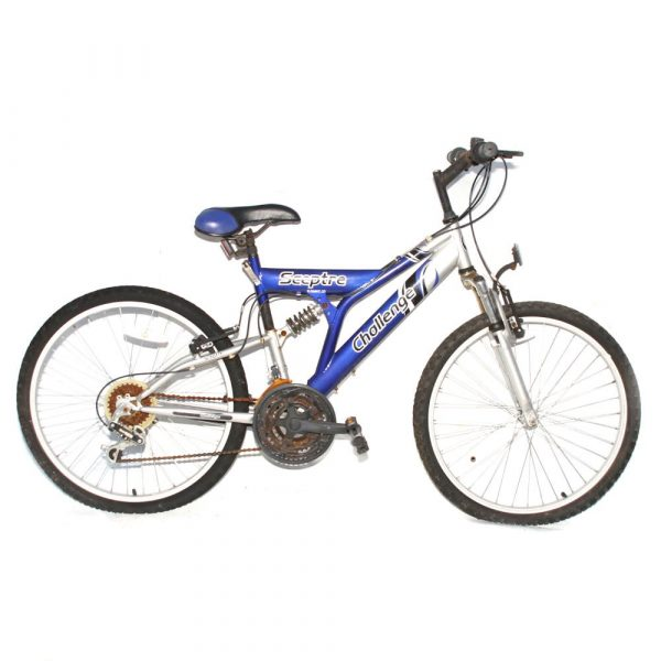 "Challenge Sceptre 24"" 18 Speed Dual Suspension Mountain Bike Blue 16"""