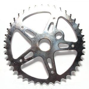 40T Chainring BMX One Piece Crank 5 Spoke Star Classic Chromed Steel Silver