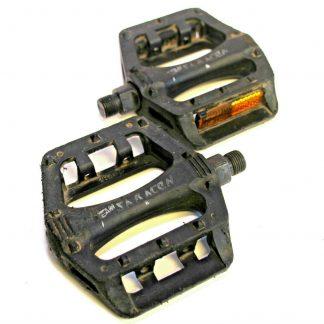 "Team Saracen Black Plastic Platform Pedals 9/16"" BMX Retro 90's MTB V8 Copy Pair"