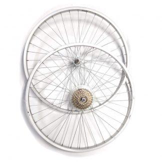"""26"""" x 1.75 - Cruiser Wheels inc 7 Speed Freewheel Silver"""